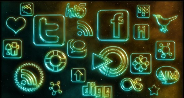 Webtreats Glowing Neon Social Medi Icons
