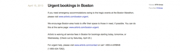 Airbnb offers support for Boston Marathon victims