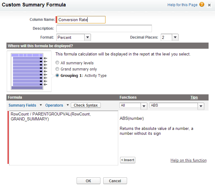 activity conversion rate fromula in salesforce.com