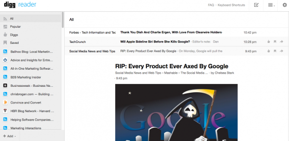 Google Reader Alternatives: Digg Reader