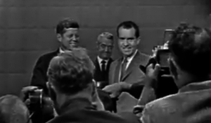Kennedy and Nixon prepare for their first televised debate.