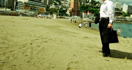 business man beach