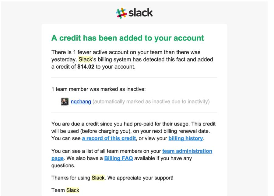 Slack credit