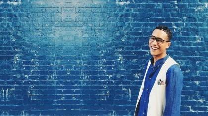 smiling blue background