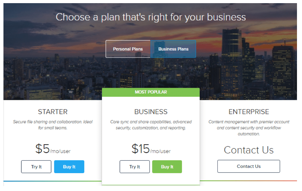 Figure 6: Box's Business pricing page, May 2016