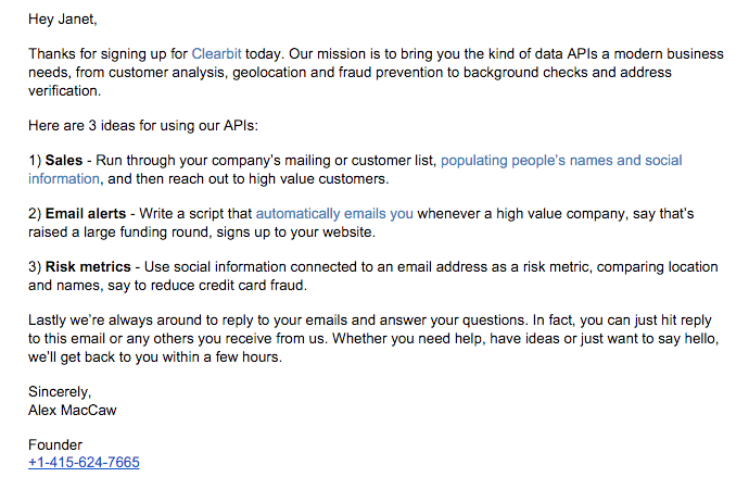 clearbit-early-welcome-email