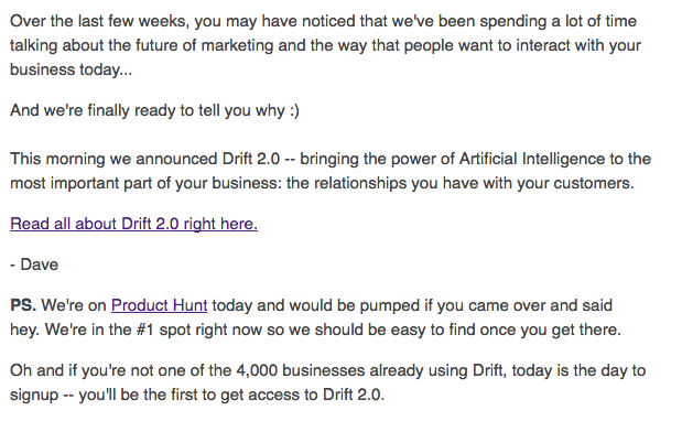 Drift Announcement Email