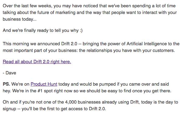 Drift Announcement Email