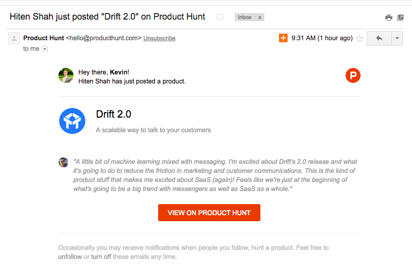 Drift Product Hunt