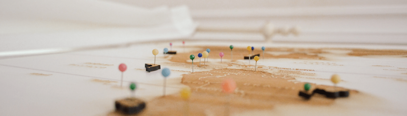 micro photography of a roadmap and pins