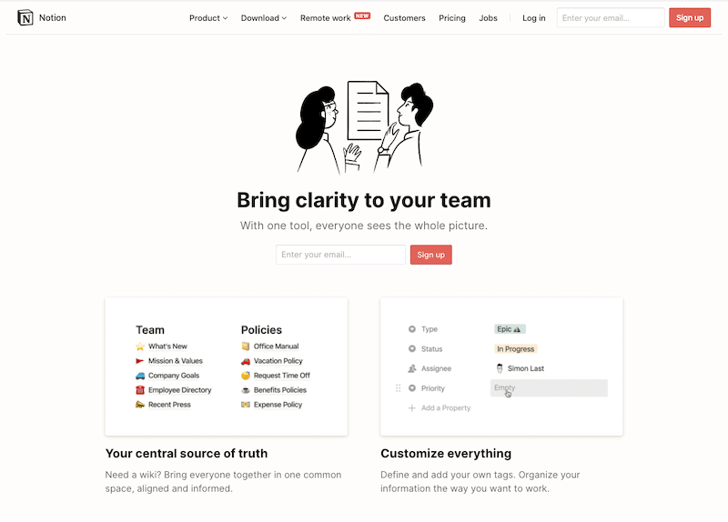 Notion's homepage