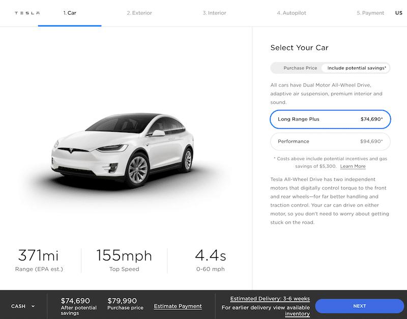 Tesla order form