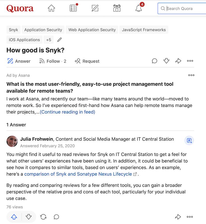 Quora screenshot