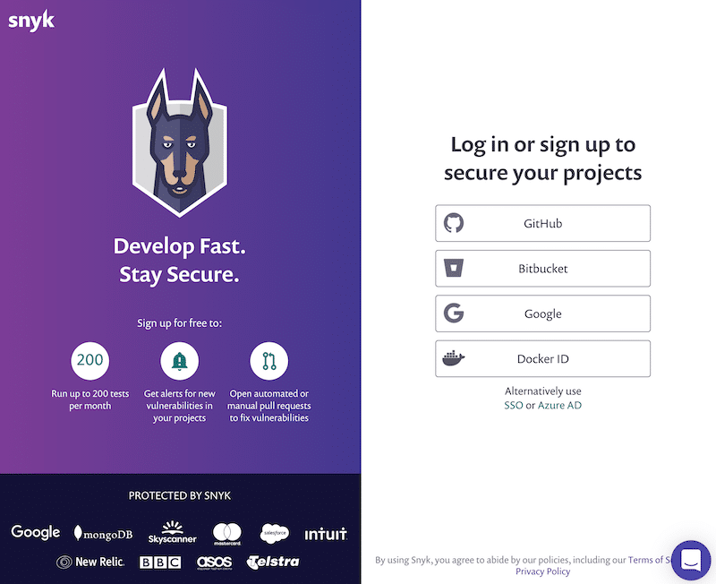 Screenshot of Snyk's signup