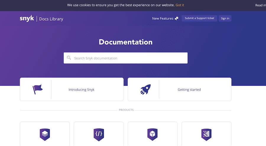 Snyk's documentation screenshot