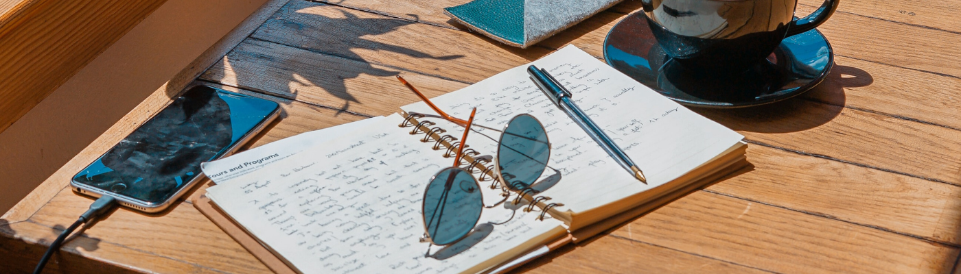 Open notebook on a table