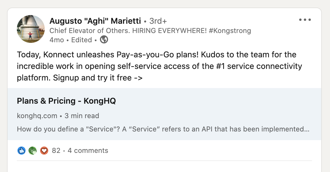 Kong HQ release Pay-As-You-Go announcement on Linkedin